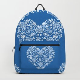 Azure Strong Blue Heart Lace Flowers Backpack