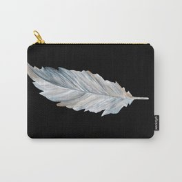Bird Feather on Black Carry-All Pouch
