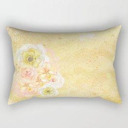 Yellow Floral Watercolor Rectangular Pillow