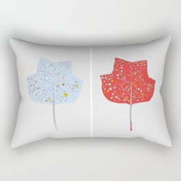 Blue & Red Leaf Design II Rectangular Pillow