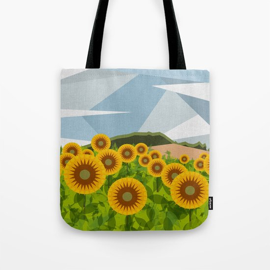 SUNFLOWERS (geometric flowers abstract) Tote Bag