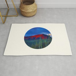 Mid Century Modern Round Circle Photo Red Mountain Sunset With Field of Green Cactus Rug
