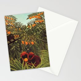 Apes in the Orange Grove by Henri Rousseau 1910 // Colorful Jungle Animal Landscape Scene Stationery Cards