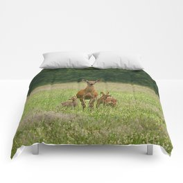 Doe with Twin Fawns Comforters
