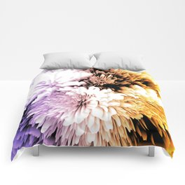 Mums abstract with shades of purple and gold Comforters