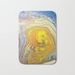 Supernova yellow golden on white purple pink blue abstract acrylic Bath Mat