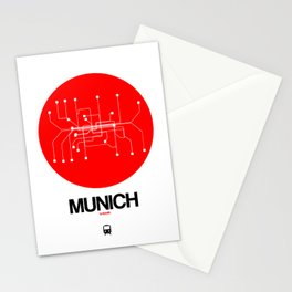 Munich Red Subway Map Stationery Cards