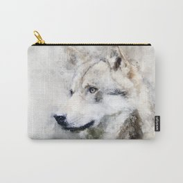 Watercolour grey wolf portrait Carry-All Pouch