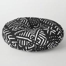 Line Mud Cloth // Black Floor Pillow