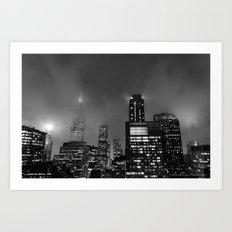 Foggy Chicago Night Art Print