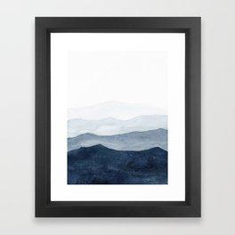 Indigo Abstract Watercolor Mountains Framed Art Print