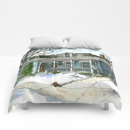 A Cozy Winter Cottage Comforters