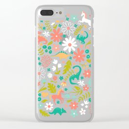 Dinosaurs + Unicorns in Pink + Teal Clear iPhone Case