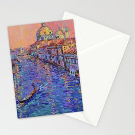 Sunset Over The Grand Canal In Venice -palette knife urban city landscape by Adriana Dziuba Stationery Cards