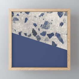 Terrazzo Texture Dark Blue #2 Framed Mini Art Print