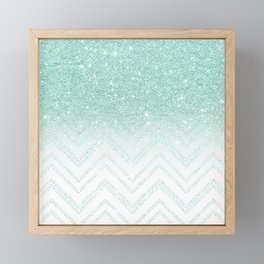 Faux teal glitter ombre modern chevron pattern Framed Mini Art Print