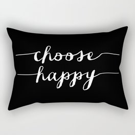 Choose Happy black and white typography poster black-white design bedroom wall art home decor Rectangular Pillow