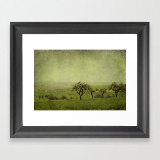 fields and apple trees Framed Art Print