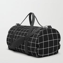 Grid Pattern Line Stripe Black and White Minimalist Geometric Stripes Lines Duffle Bag
