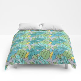 Blue Lilies and Orchids Comforters