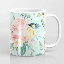 Minty Vintage Floral Coffee Mug