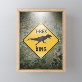 T-Rex Crossing Framed Mini Art Print