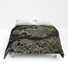 Wilkes-Barre Gold and Black Map Comforters