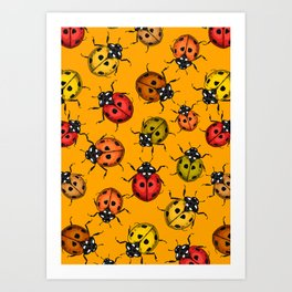 Colorful ladybugs Art Print