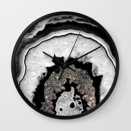 Gray Black White Agate with Silver Glitter #1 #gem #decor #art #society6 Wall Clock