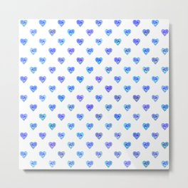 Tiny Blue Heart Polka Dots Metal Print