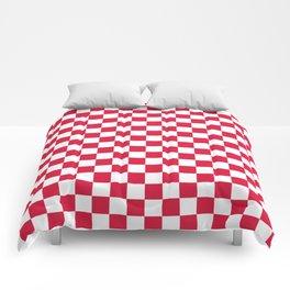 White and Crimson Red Checkerboard Comforters