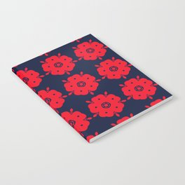 Japanese Samurai flower red pattern Notebook