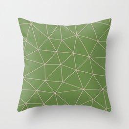 Green Background Triangular Pink Lines Throw Pillow