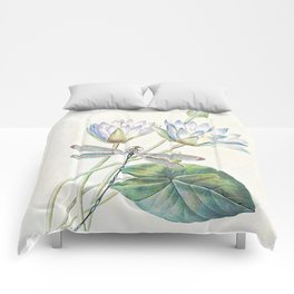 lotus and dragonfly Comforters