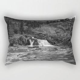 Redrock Falls bw - Glacier National Park Rectangular Pillow