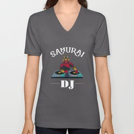 Samurai DJ - Japanese, Japan, Disco Unisex V-Neck