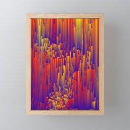 Fiery Rain - Pixel Abstract Art Framed Mini Art Print