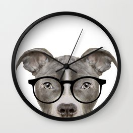 Pit bull with glasses Dog illustration original painting print Wall Clock