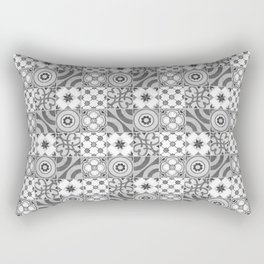 Patchwork pattern -  Quilt Design - black and white illustration Rectangular Pillow