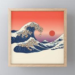 The Great Wave of Shiba Inu Framed Mini Art Print