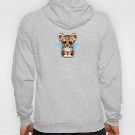 Cute Baby Tiger Cub with Fairy Wings on Blue Hoody