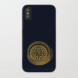The golden compass I- maritime print with gold ornament iPhone Case