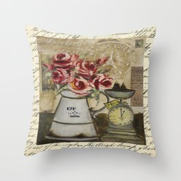 flowers & scale Throw Pillow