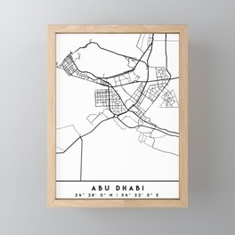 ABU DHABI UAE BLACK CITY STREET MAP ART Framed Mini Art Print