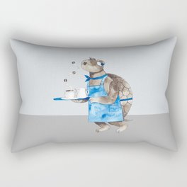 Turtle waitress coffee time Rectangular Pillow