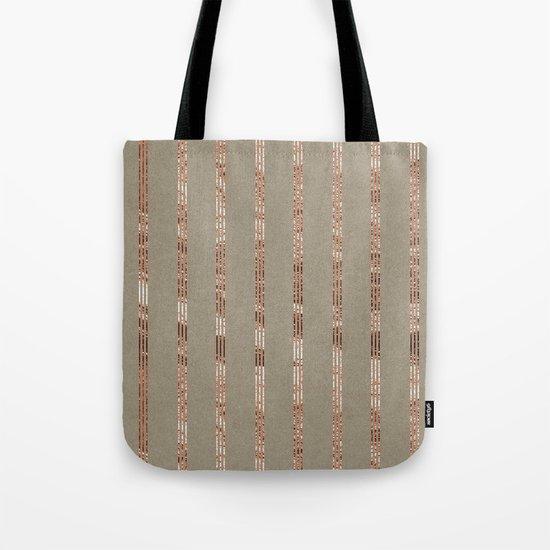 Rose gold stripes on natural grain Tote Bag