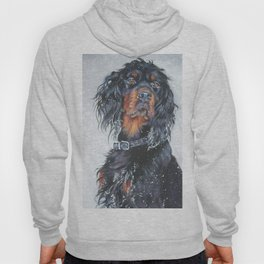 Gordon Setter dog art in snow from an original painting by L.A.Shepard Hoody