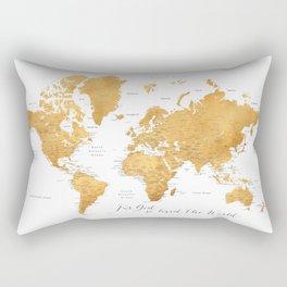 For God so loved the world, world map in gold Rectangular Pillow