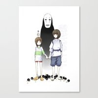 spirited away Canvas Prints featuring Spirited Away by xephia