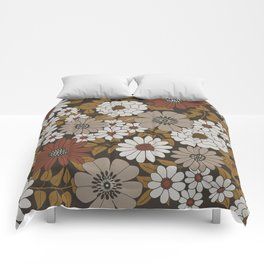 Brown, Orange, and Ivory Retro Flower Pattern Comforters